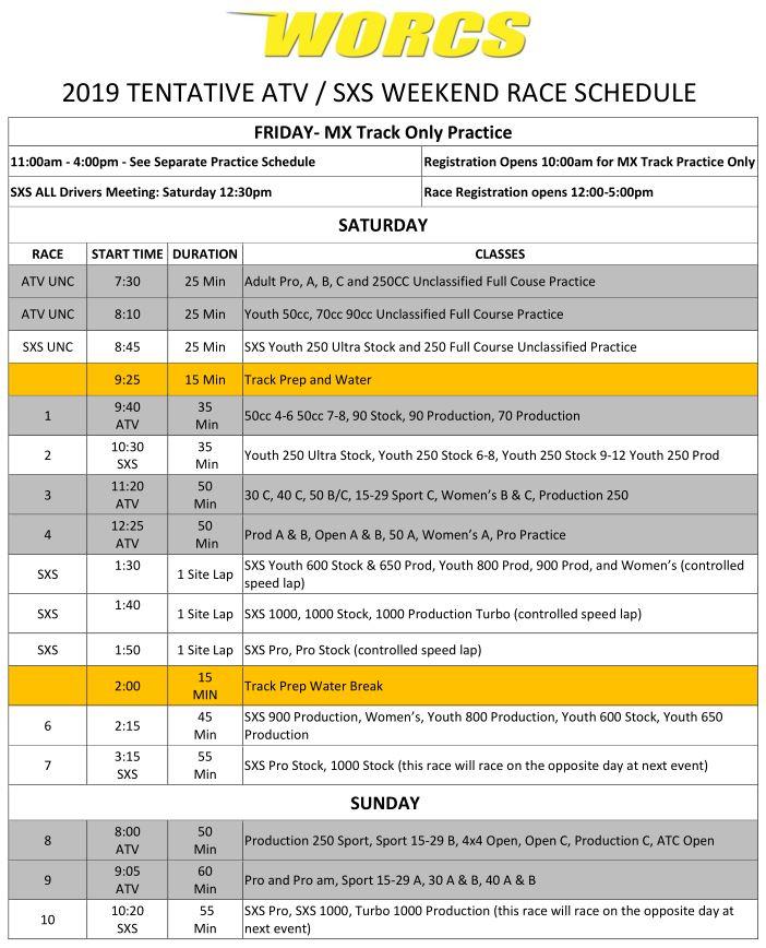 2019 ATV SXS Race Weekend Schedule Web Preview