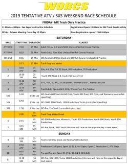 2019 ATV SXS Race Weekend Schedule