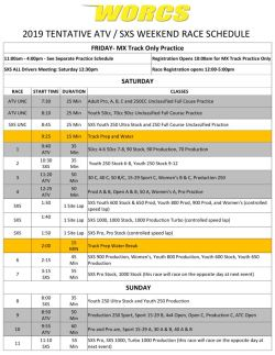 2019 ATV SXS Race Weekend Schedule