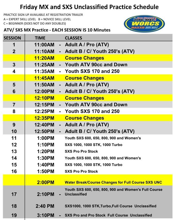 Round 5 2019 Glen Helen ATV SXS MX Schedule