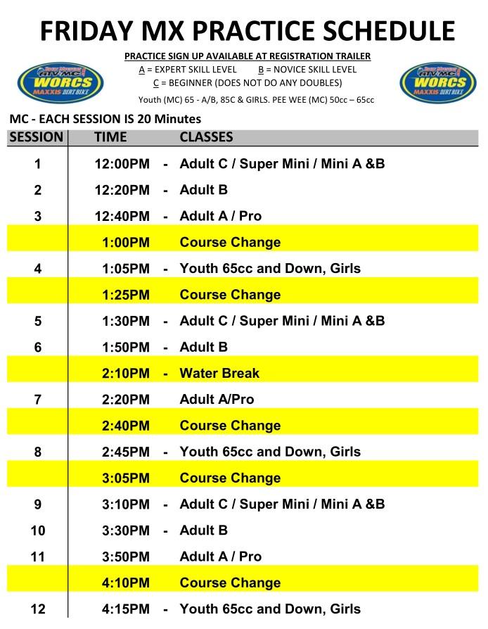 Round 9 2019 Glen Helen MC MX Schedule