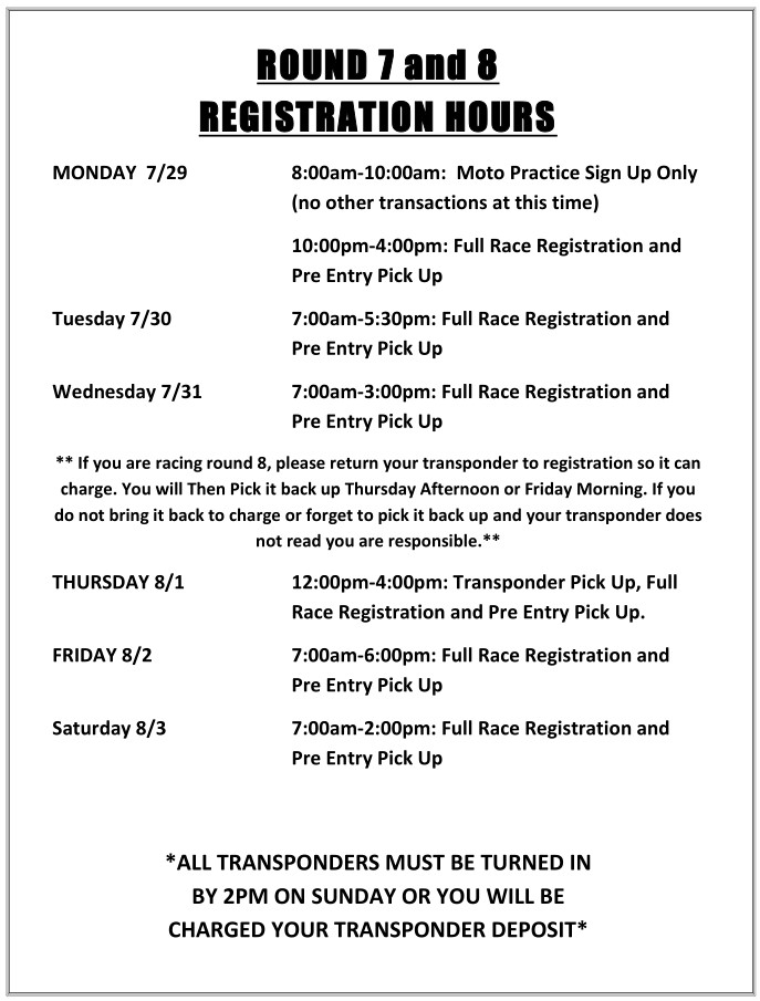 2019 Rnd 7 and 8 MC Registration Hours