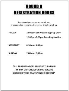 2019 Round 9 MC Registration Hours