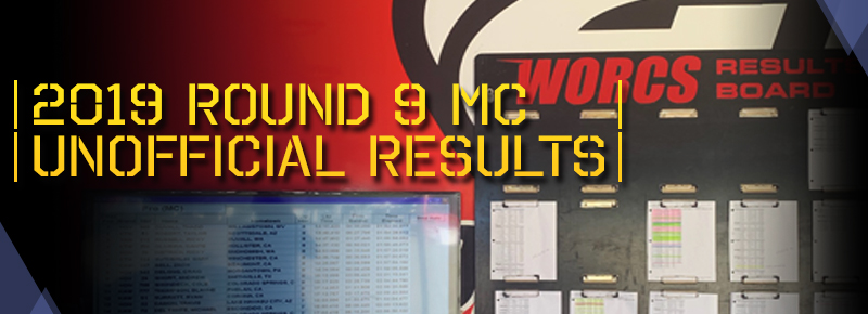 2019 Round 9 MC Unofficial Results Board