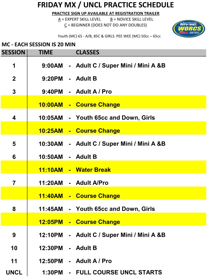2020 Round 2 Taft MC MX Practice Schedule