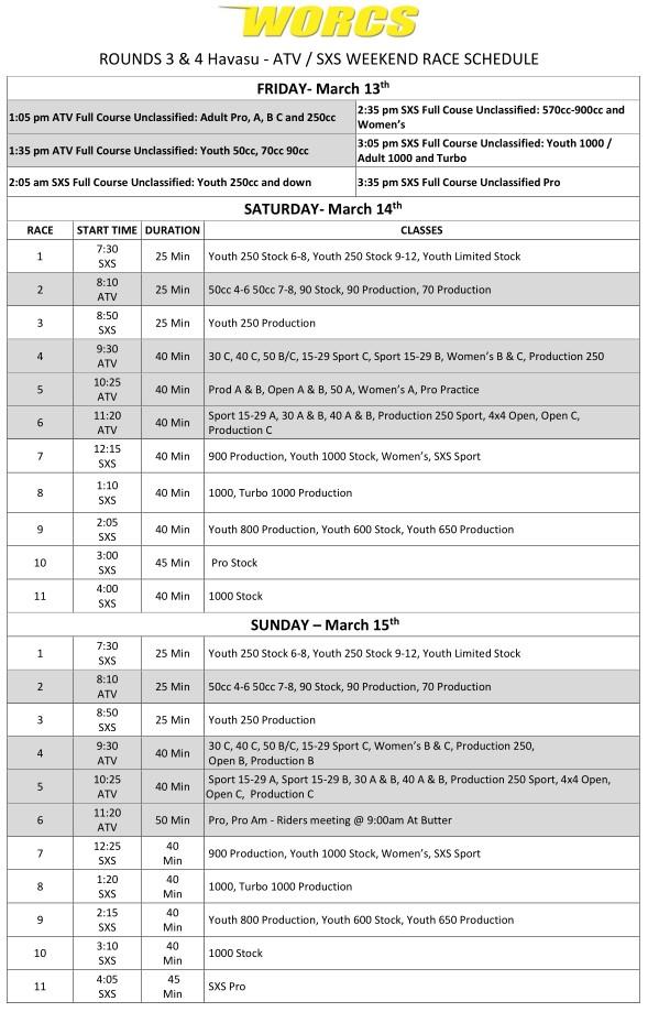2020 Rounds 3&4 ATV SXS - Havasu Race Weekend Schedule