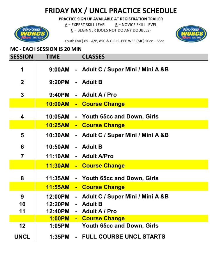 2020 Round 4 HAVASU MC MX Practice Schedule