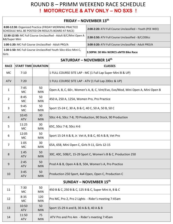 2020 Weekend Schedule Round 8 Primm MC and ATV Web 11-3-2020