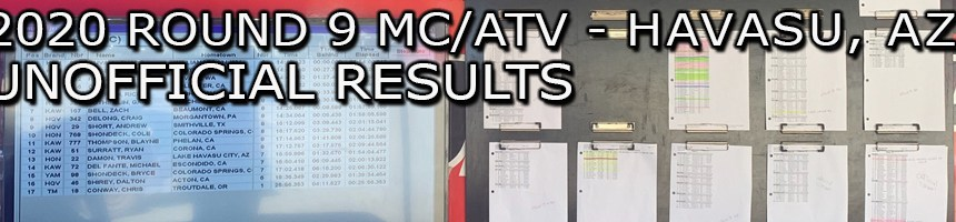 2020 RNDS 9 MC ATV UNOFFICIAL RESULTS BOARD