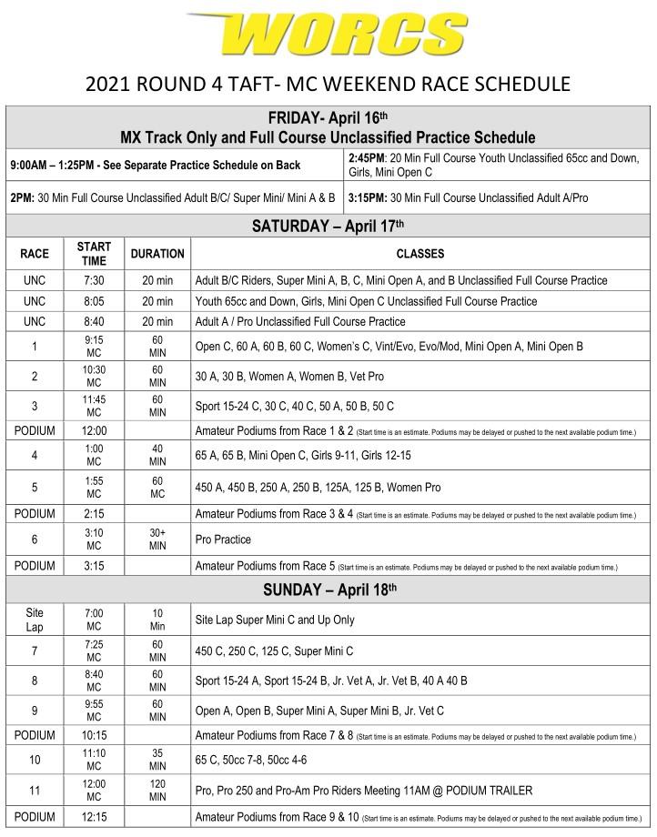 2021 R-4 TAFT MC Race Weekend Shcedule