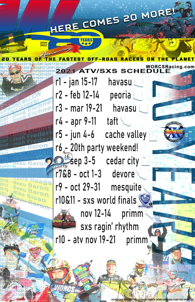 2021 WORCS MC & ATV/SXS MASTER EVENT SCHEDULE