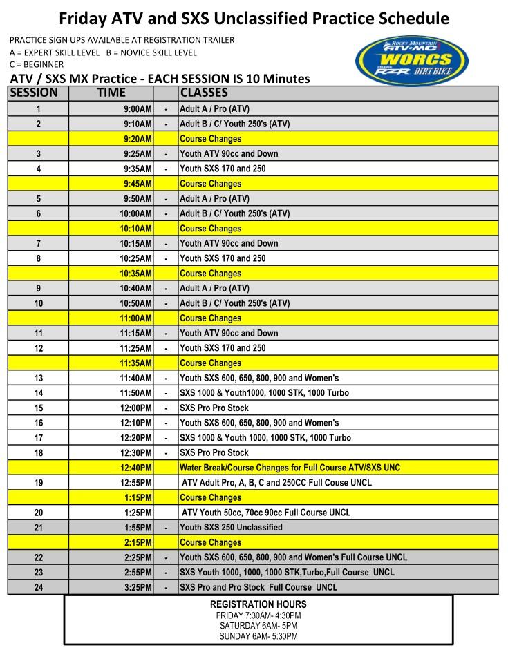 2021 R 7 & 8 ATV SXS - Glen Helen Moto Practice Schedule
