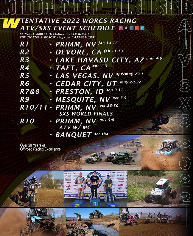 2022 WORCS ATV SXS Race Schedule