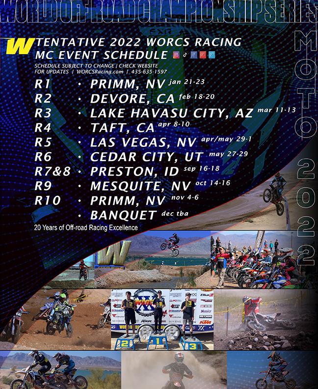 2022 WORCS MC Race Schedule