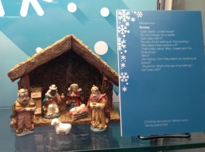 Picture of a nativity scene and poem at the 26 Children's Winters exhibition