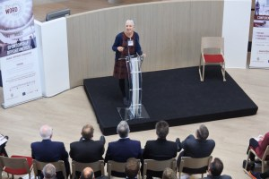 Writer, Ann Cleves, speaking at the opening of The Word