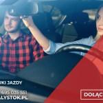 grafika przedstawia kobietę i mężczyznę w samochodzie, napis szkolenie na instruktora nauki jazdy, więcej informacji 695 035 551, adres strony internetowej www.word,bialystok.pl