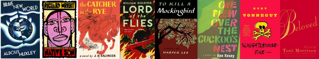 These eight novels appeared on three separate critics' lists of greatest English-language novels. They were also among the top 100 banned booked from 1990-2009.