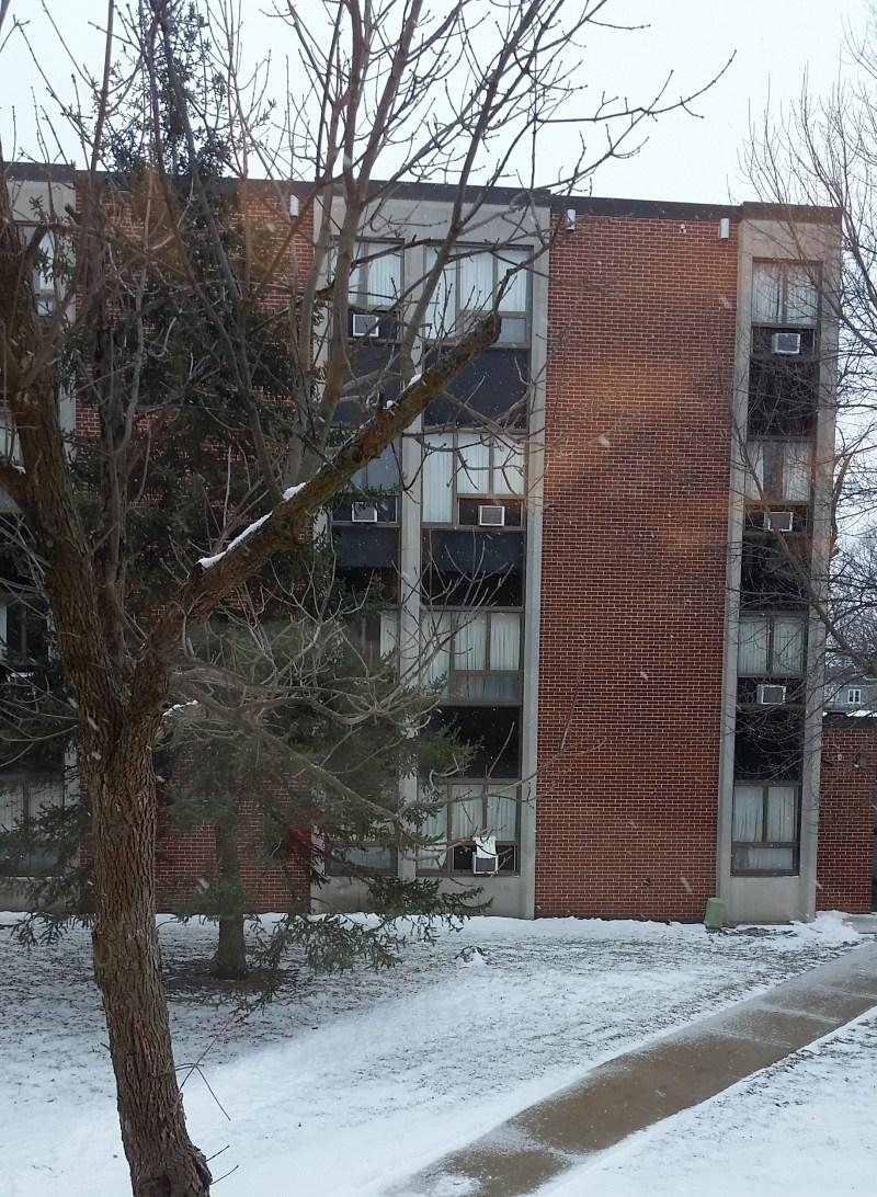 school dormitory in the snow
