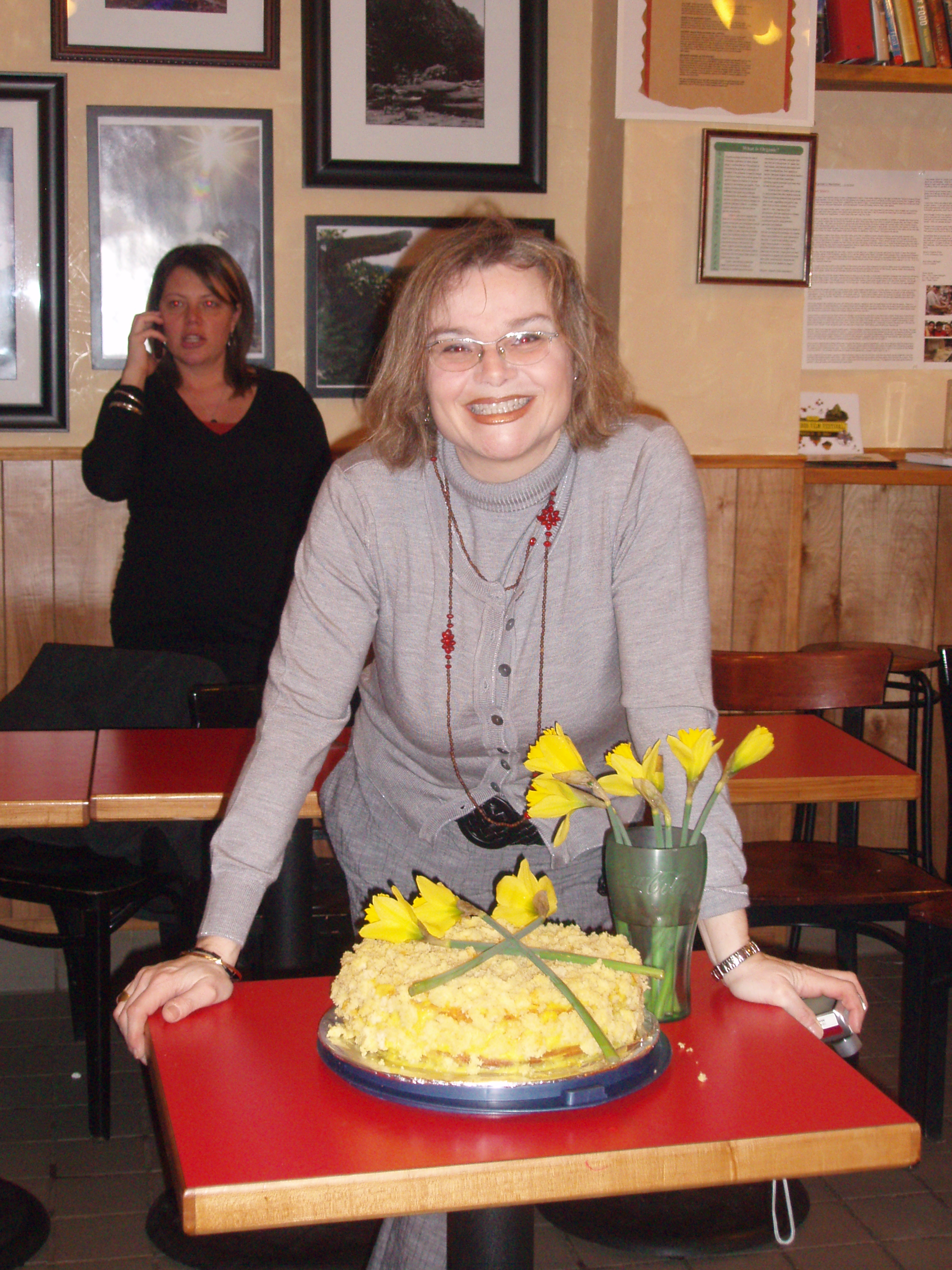 Silvia with the mimosa cake