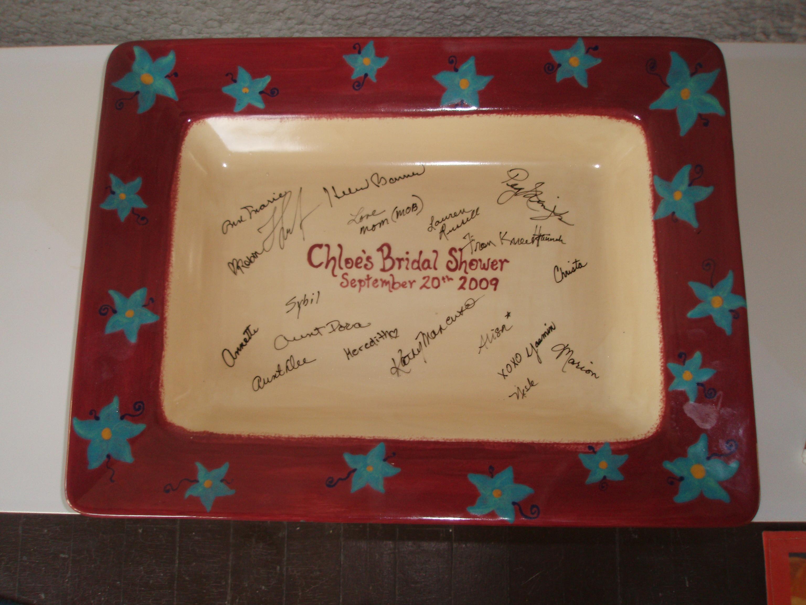 Wedding shower signed plate