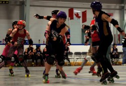 Holly Hox busting through a pack.