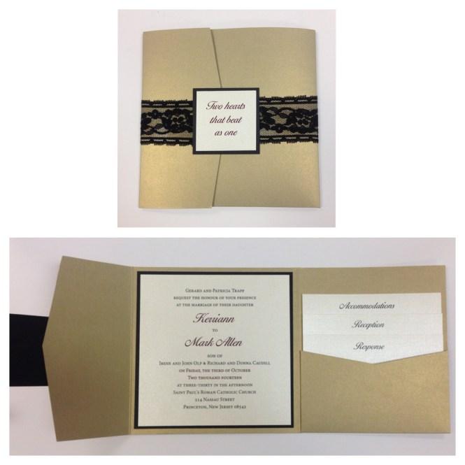 Custom Vintage Rustic Lace Pocket Wedding Invitation Set Invites