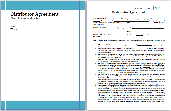 Ms Word Distributor Agreement Template Word Document Templates