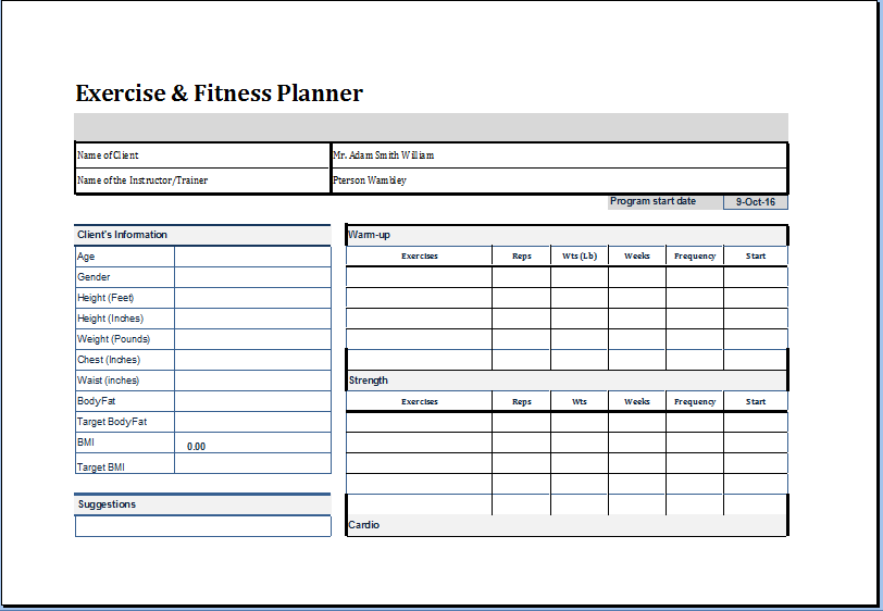 Exercise Plan Template North Fourthwall Co