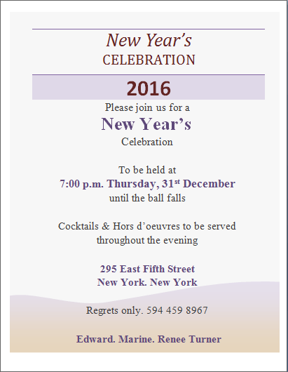 invitation card for new year celebration