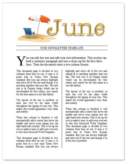 Preschool Summer Newsletter Template Holliddaysco - Summer newsletter template