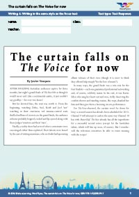 Now Worksheets Year 8 The Curtain Falls On Voice For Writing 4