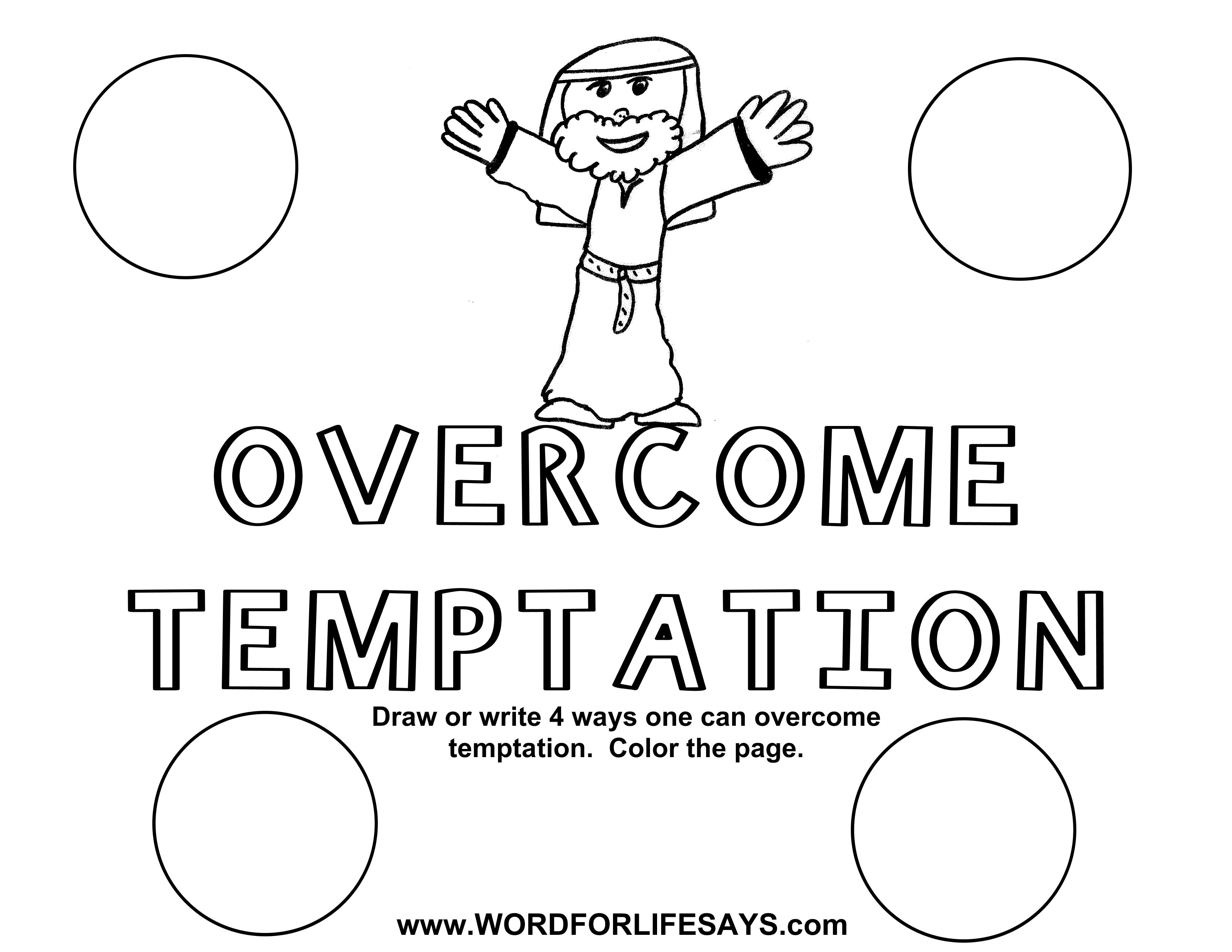 Resist Temptation Coloring Page Sketch Coloring Page