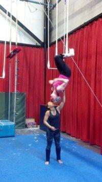 Mel hanging upside down