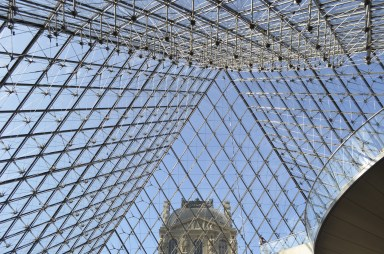 The Louvre Pyramid from inside.