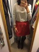Fall essential items: orange pleated mini & boots