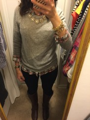Fall essential items: colorblock sweater, jeans & boots