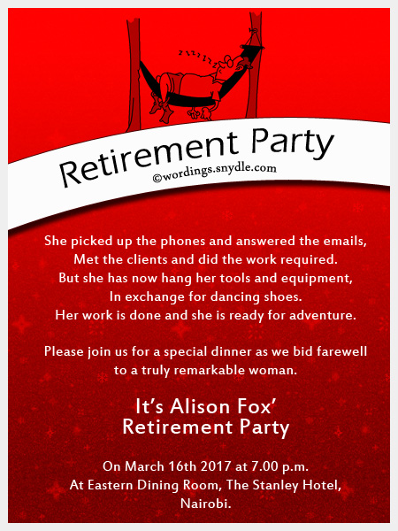Retirement Party Invitation Wordings