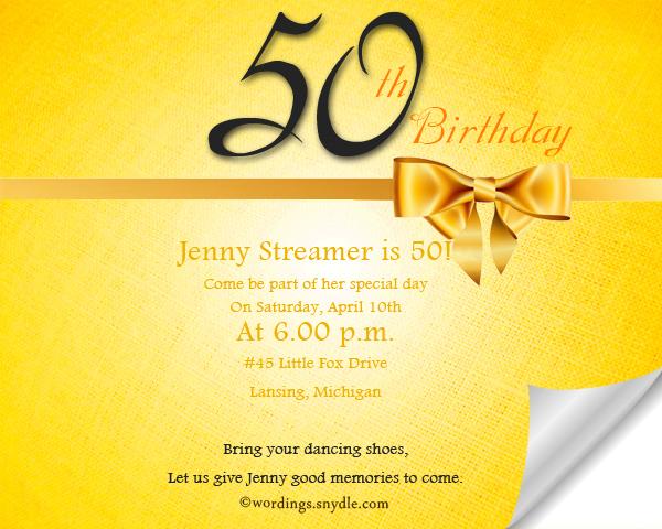50 Birthday Invitation Wordings Sle