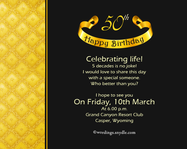 50th Birthday Invitation Wording Ideas To Inspire Your Fetching Invitations Designs 7