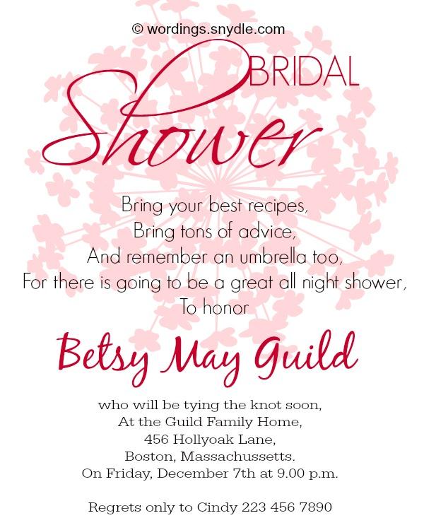 Bridal shower wording sample filmwisefo