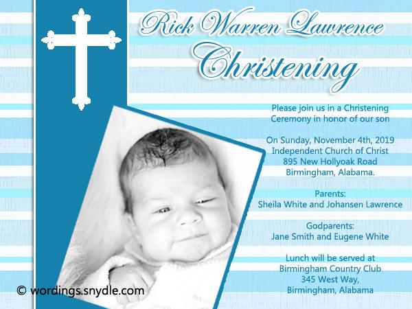 christening invitation wording samples
