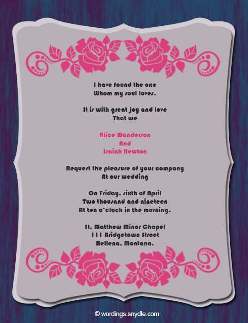 Wedding Invitation Wording Samples 06
