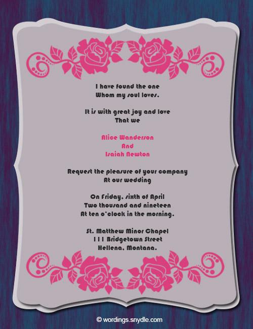 Wedding Invitation Wording Sles 06