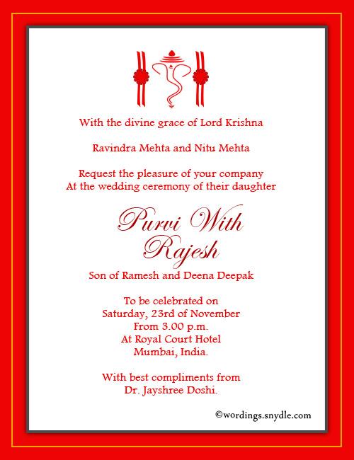 Hindu Wedding Invitation Wordings Sle