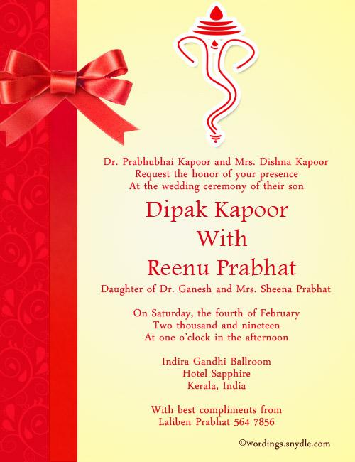 Kerala Wedding Invitation Sample Wording