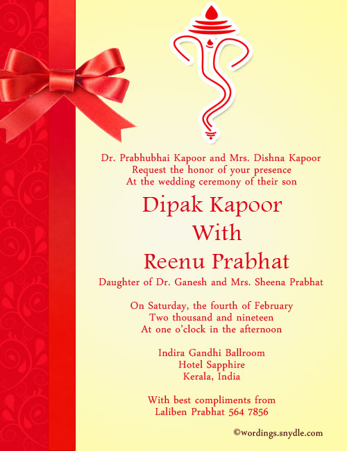 Wedding Invitation Worings Indian
