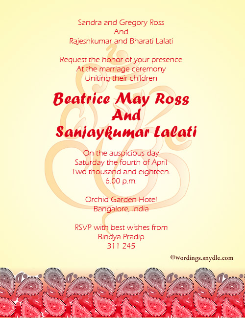 311 245 Indian Wedding Invitation Wordings Sle