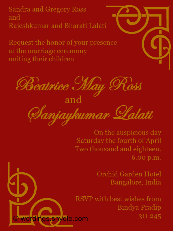 Indian Wedding Invitation Wordings Sles
