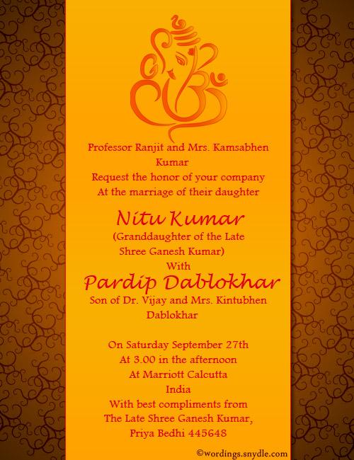 Indian Wedding Invitation Wording Sles Wordingessages